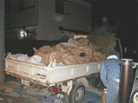 3材、仕切版など内容物でダンプ1台の廃材が出ます。